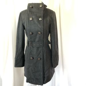 Guess Wool Military Style Ruffle Tiered Pea Coat